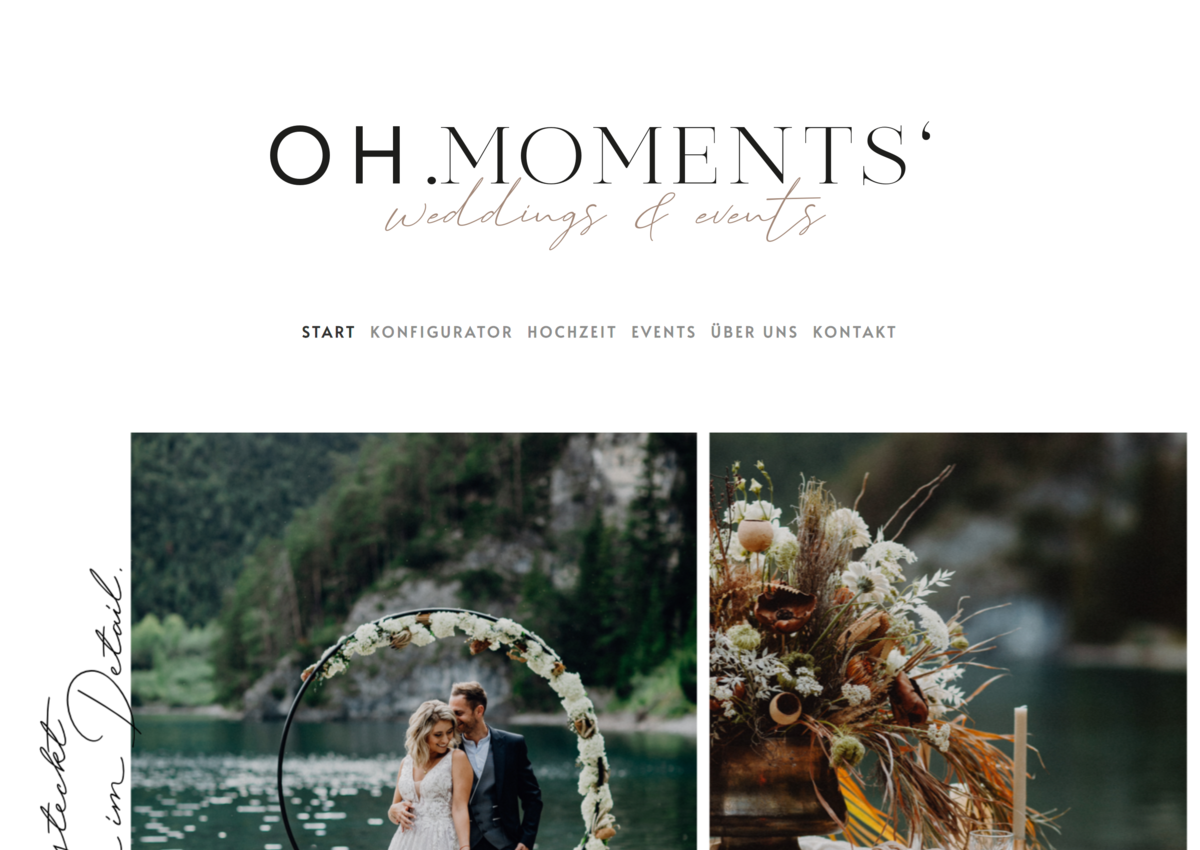 Website Oh.Moments' weddings und events 2020